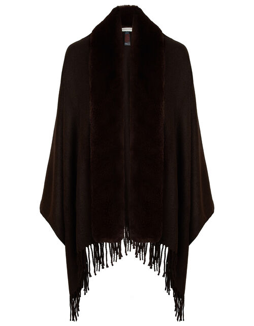 Faux Fur Wrap, Brown (CHOCOLATE), large