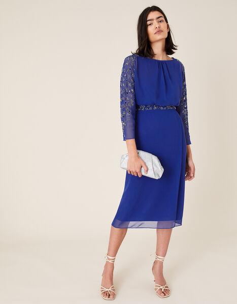 Clover Embellished Dress Blue, Blue (COBALT), large