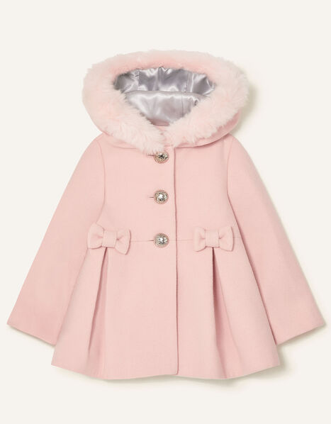 Baby Bow Hooded Coat Pink, Pink (PALE PINK), large