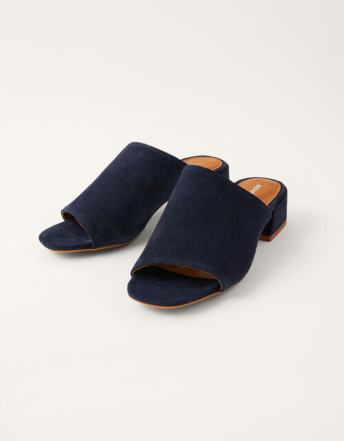 Suede Block Heel Mules, Blue (NAVY), large