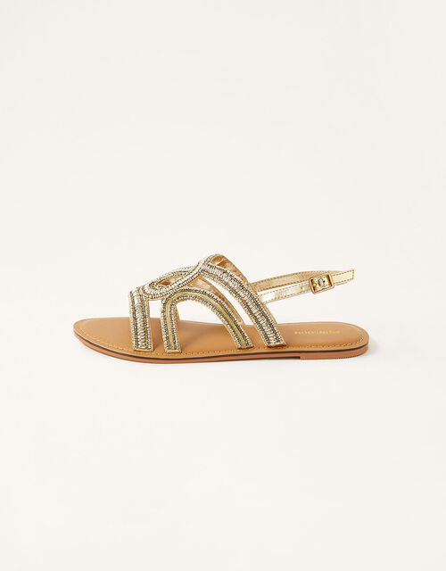 Beaded Sandals, Gold (GOLD), large