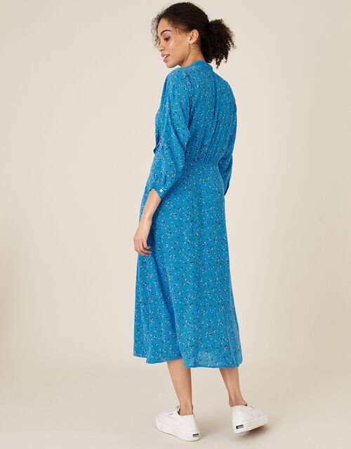 Floral Print Midi Dress, Blue (BLUE), large