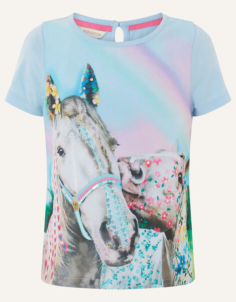 Majestic Horse T-Shirt  Blue, Blue (BLUE), large
