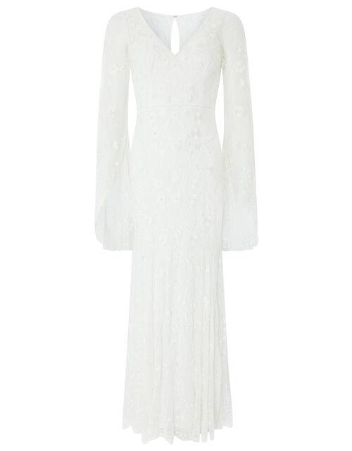 Evelina Bridal Fluted Sleeve Embellished Dress, Ivory (IVORY), large
