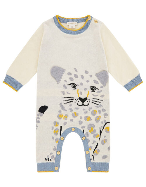 Newborn Baby Leopard Sleepsuit in Organic Cotton, Ivory (IVORY), large