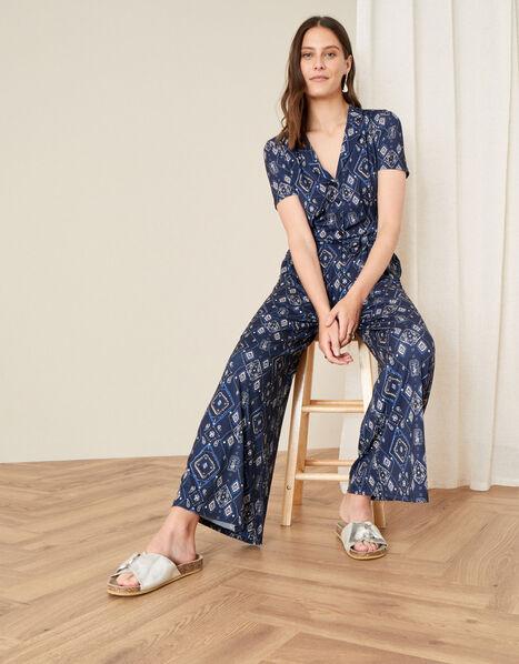 Printed Wide Leg Jersey Jumpsuit Blue, Blue (NAVY), large
