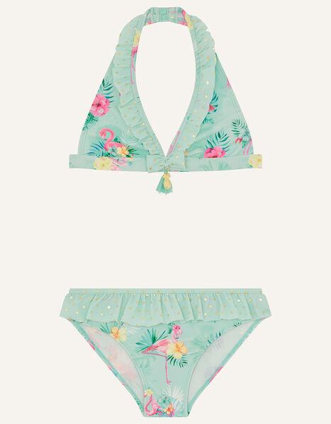Flamingo and Foil Spot Bikini Set Blue, Blue (AQUA), large