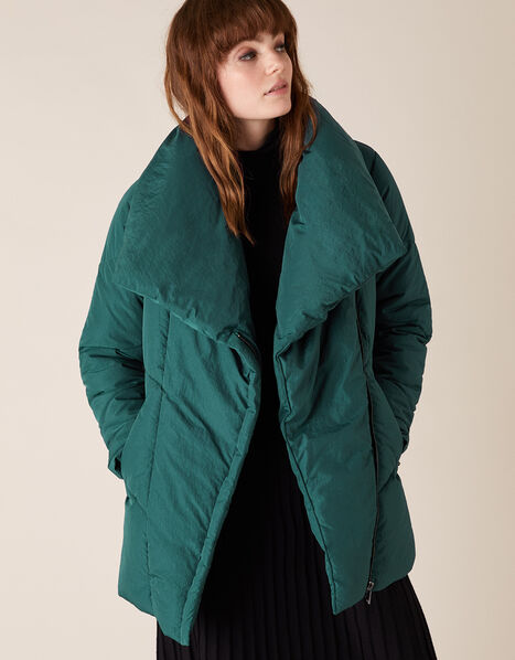 Dhalia Short Padded Coat in Recycled Fabric Teal, Teal (TEAL), large