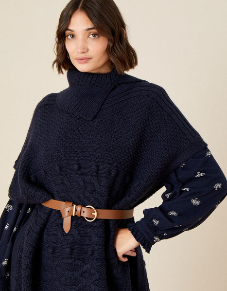 Stitchy Cable Knit Poncho, , large