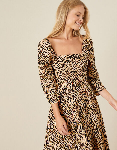Angelina Animal Square Neck Dress  Camel, Camel (CAMEL), large