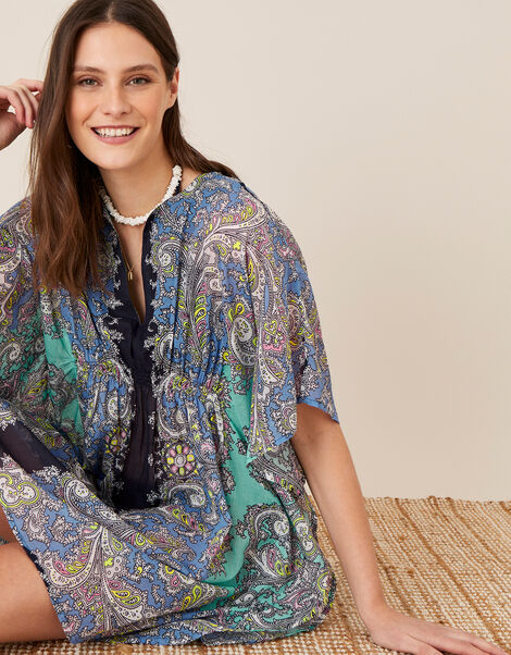 Bright Paisley Print Kaftan in Organic Cotton  Blue, Blue (BLUE), large