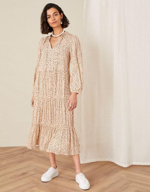 Printed Tiered Maxi Dress, Natural (NATURAL), large