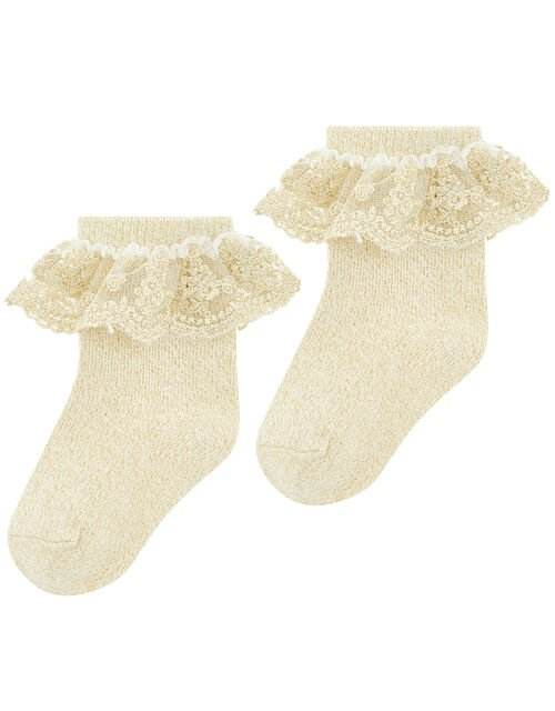 Baby Ellen Gold Sparkle Socks, Gold (GOLD), large