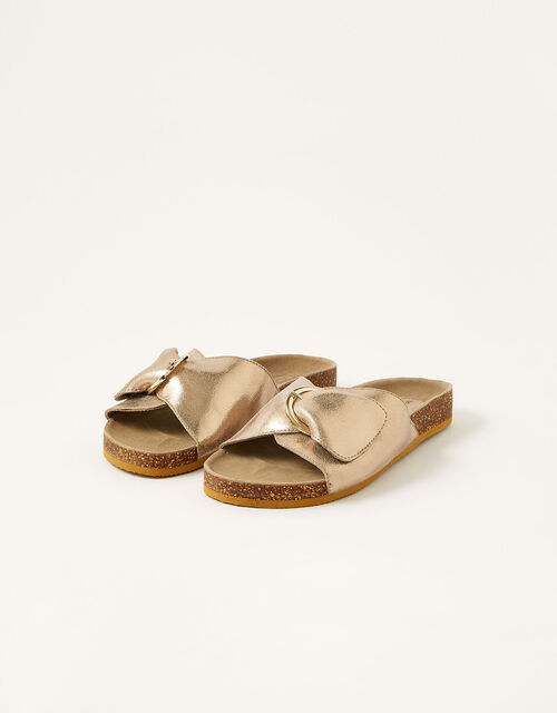 Mimi Metallic Leather Sandals, Gold (GOLD), large