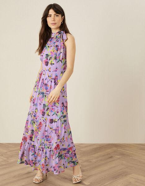 Helen Dealtry Brynn Floral Midaxi Dress Purple, Purple (LILAC), large