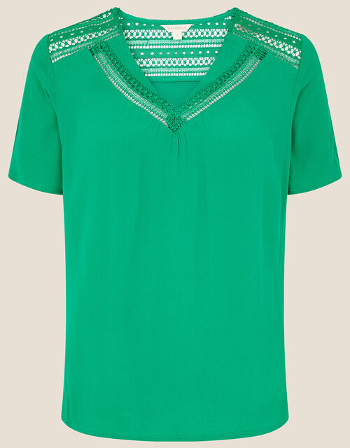 Lace Trim Woven Top, Green (GREEN), large