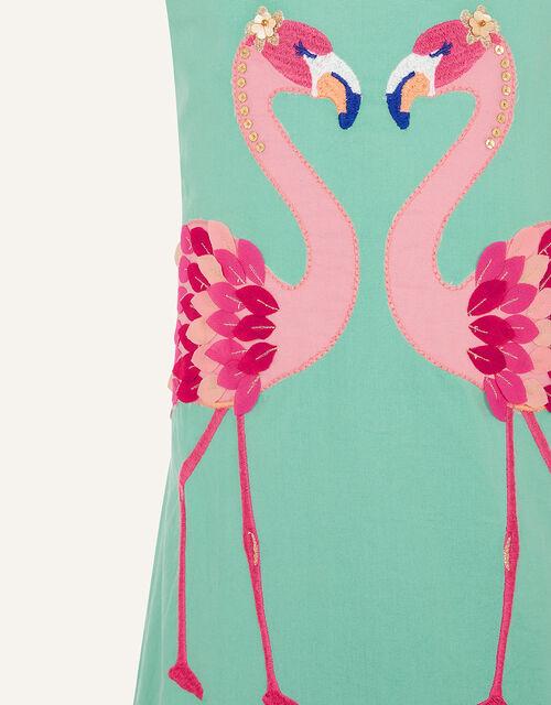 Flamingo Applique Dress , Green (GREEN), large