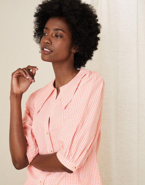 Wide Collar Gingham Top, Orange (CORAL), large