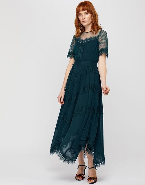 Melissa Lace Chevron Hanky Hem Dress, Teal (TEAL), large