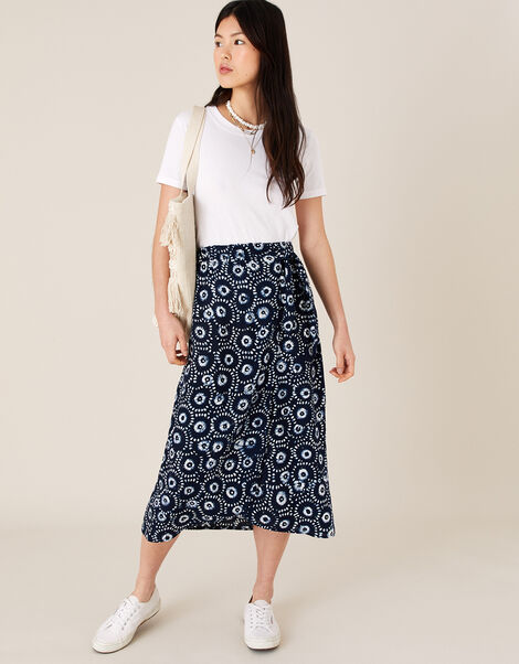 ARTISAN STUDIO Batik Print Wrap Skirt Blue, Blue (NAVY), large