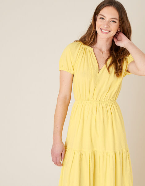 Tiered Midi Dress in Pure Cotton Yellow, Yellow (YELLOW), large