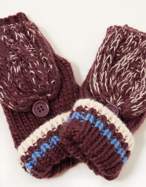 Reuben Knit Capped Gloves, Red (BURGUNDY), large