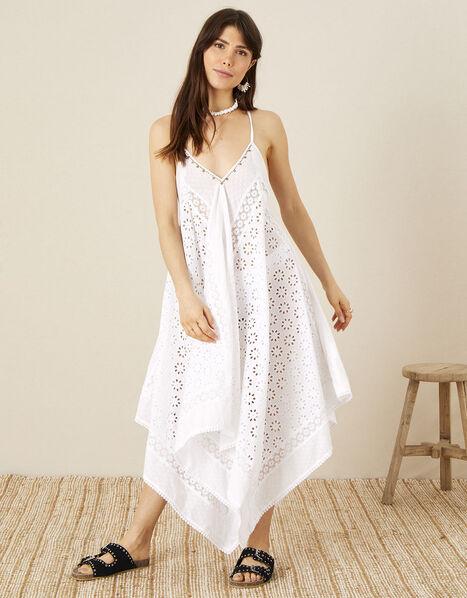 Miquel Broderie Hanky Hem Dress White, White (WHITE), large