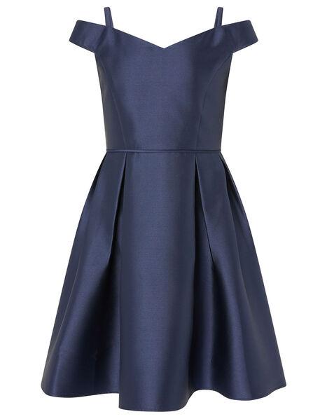 Duchess Twill Bardot Prom Dress Blue, Blue (NAVY), large