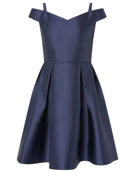 Duchess Twill Bardot Prom Dress Blue, Blue (NAVY), large