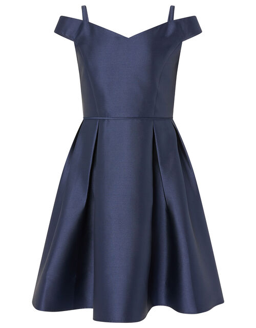 Duchess Twill Bardot Prom Dress, Blue (NAVY), large