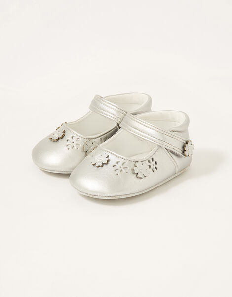 3D Flower Shimmer Booties Silver, Silver (SILVER), large