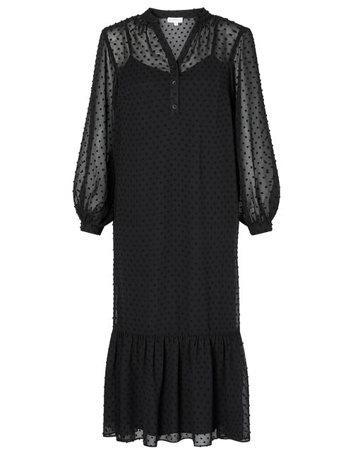 Dobby Devore Midi Dress, Black (BLACK), large