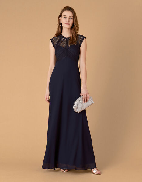 Lolita Maxi Dress with Lace Bodice Blue, Blue (NAVY), large