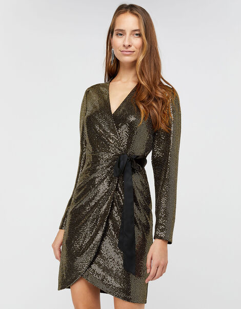 Trinity Sequin Tux Dress Gold, Gold (GOLD), large
