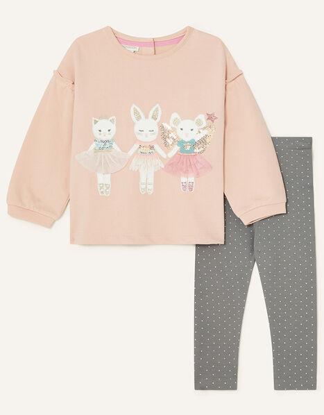 Baby Animal Motif Jersey Set Pink, Pink (PINK), large