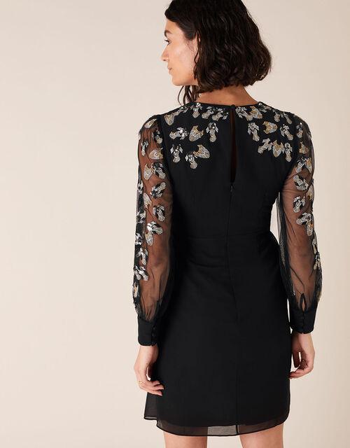 Felicia Feather Embellished Short Dress, Black (BLACK), large