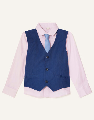 Jake Waistcoat, Shirt and Tie Set Blue, Blue (BLUE), large