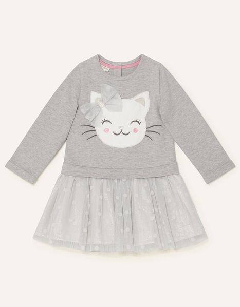 Baby Cat Sweat Disco Dress Grey, Grey (GREY), large