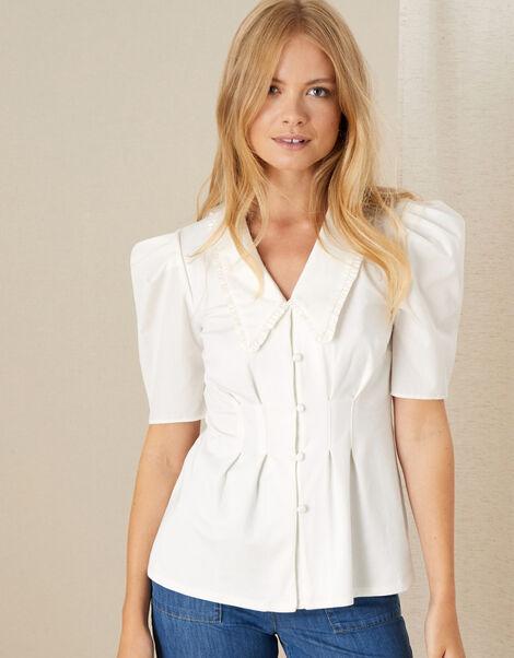 Frill Collar Shirt Ivory, Ivory (IVORY), large