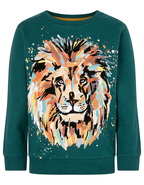 Lion Print Sweatshirt Green, Green (GREEN), large
