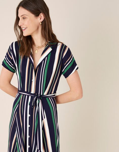 Stripe Shirt Dress with LENZING™ ECOVERO™  Blue, Blue (NAVY), large