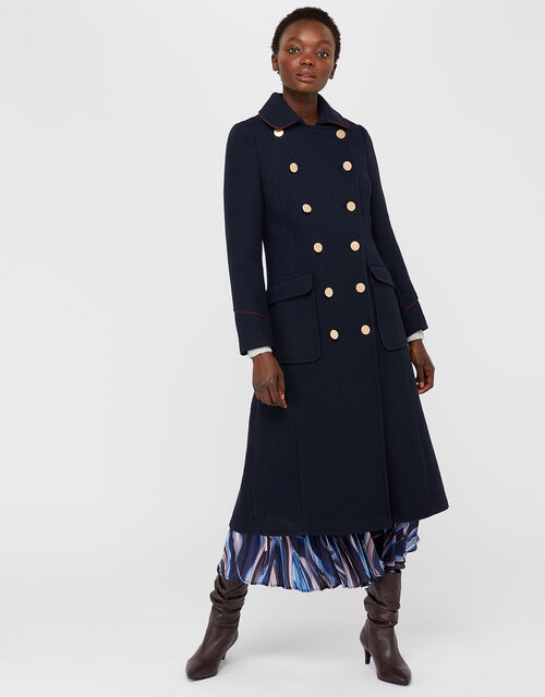 Anna Maxi Military Coat in Wool Blend, Navy, large