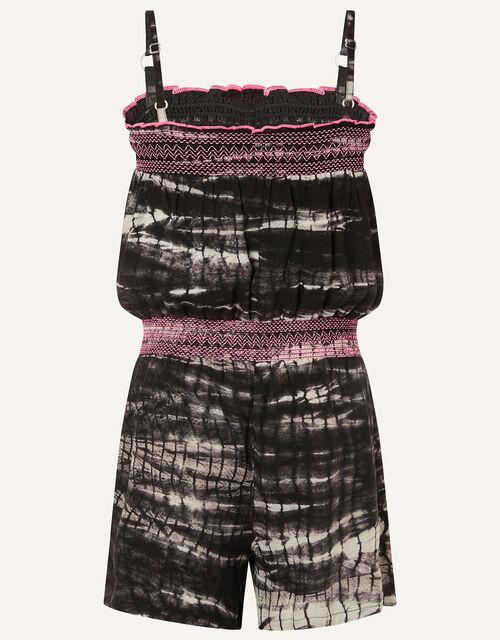 Tie Dye Playsuit in LENZING™ ECOVERO™ , Black (BLACK), large