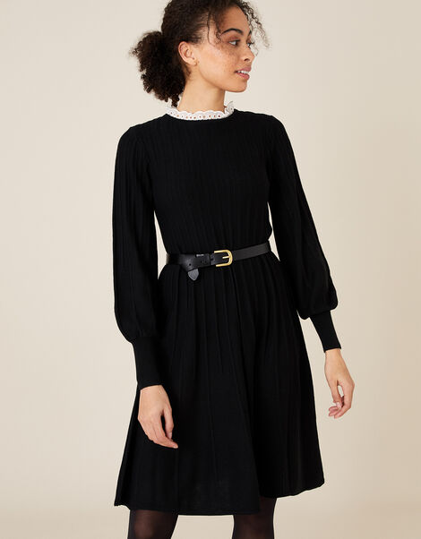 Woven Collar Knit Knee-Length Dress Black, Black (BLACK), large