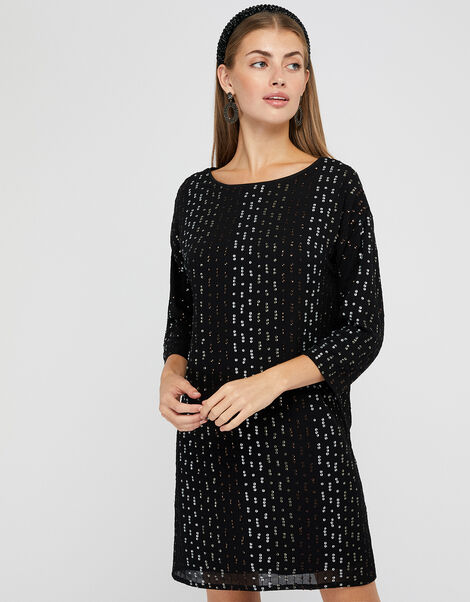 Yara Sequin Dolman Sleeve Tunic Dress Black, Black (BLACK), large