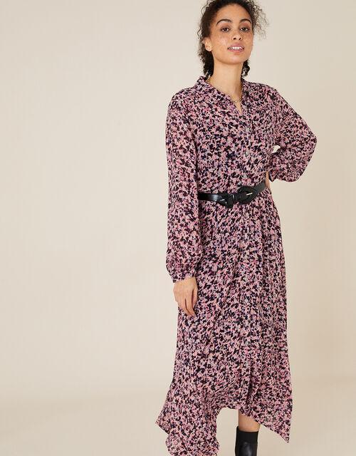 Floral Hanky Hem Shirt Dress, Pink (PINK), large