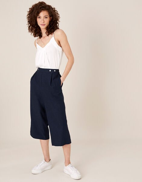 Cropped Trousers in Linen Blend Blue, Blue (NAVY), large