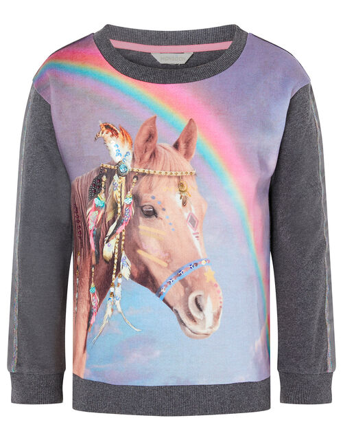 Sequin Horse Rainbow Sweatshirt, Grey (CHARCOAL), large