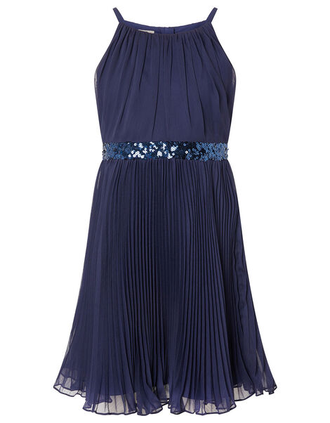 Sequin Waistband Chiffon Prom Dress Blue, Blue (NAVY), large