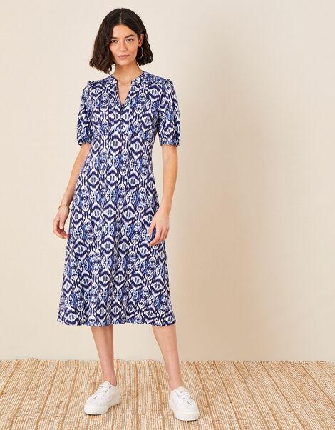 Ikat Printed Jersey Midi Dress Blue, Blue (BLUE), large